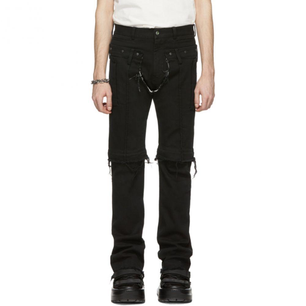 サンクアンズ Sankuanz メンズ ボトムス・パンツ ジーンズ・デニム【Black Ripped Zipper Jeans】