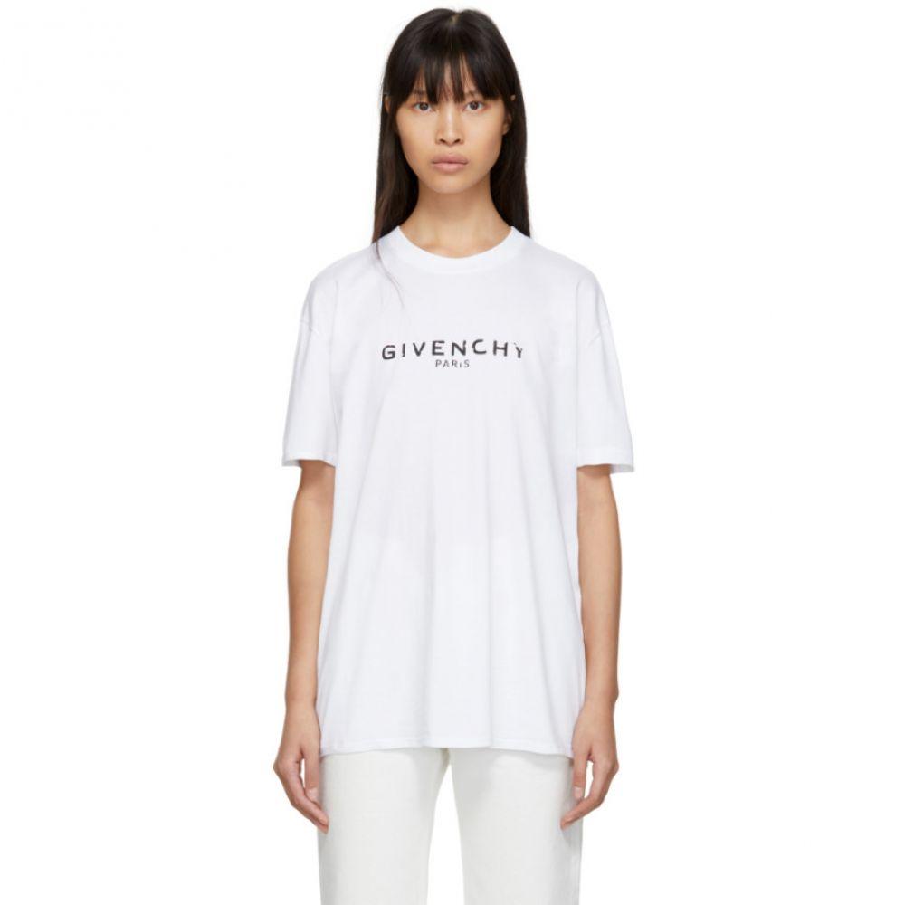 ジバンシー Givenchy レディース トップス Tシャツ【White Vintage Logo T-Shirt】