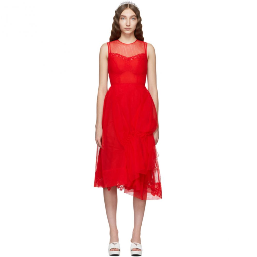 シモーネ ロシャ Simone Rocha レディース ワンピース・ドレス ワンピース【Red Asymmetric Gathered Dress】