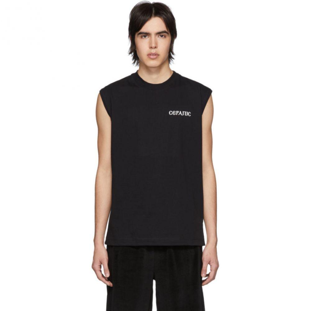 セラピス Serapis メンズ トップス ノースリーブ【Black Corporate Sleeveless T-Shirt】