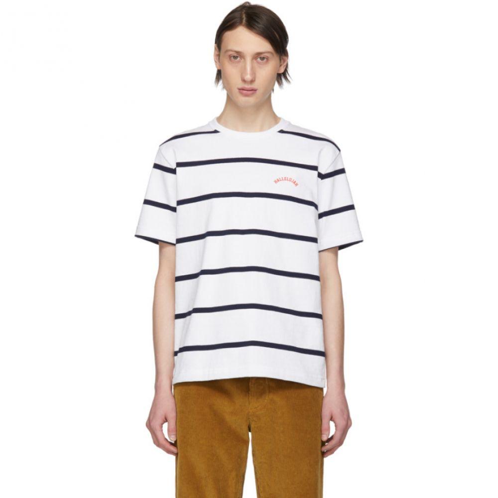 ノア Noah NYC メンズ トップス Tシャツ【White & Navy Stripe 'Hallelujah' T-Shirt】
