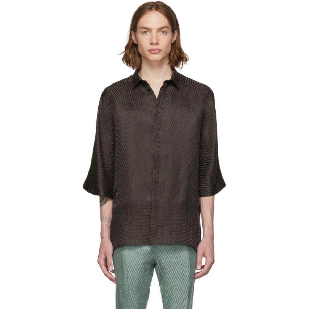ハイダー アッカーマン Haider Ackermann メンズ トップス シャツ【Brown Silk Kimono Long Shirt】