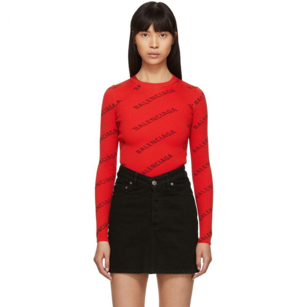 バレンシアガ Balenciaga レディース トップス【Red All Over Logo Crewneck Sweater】