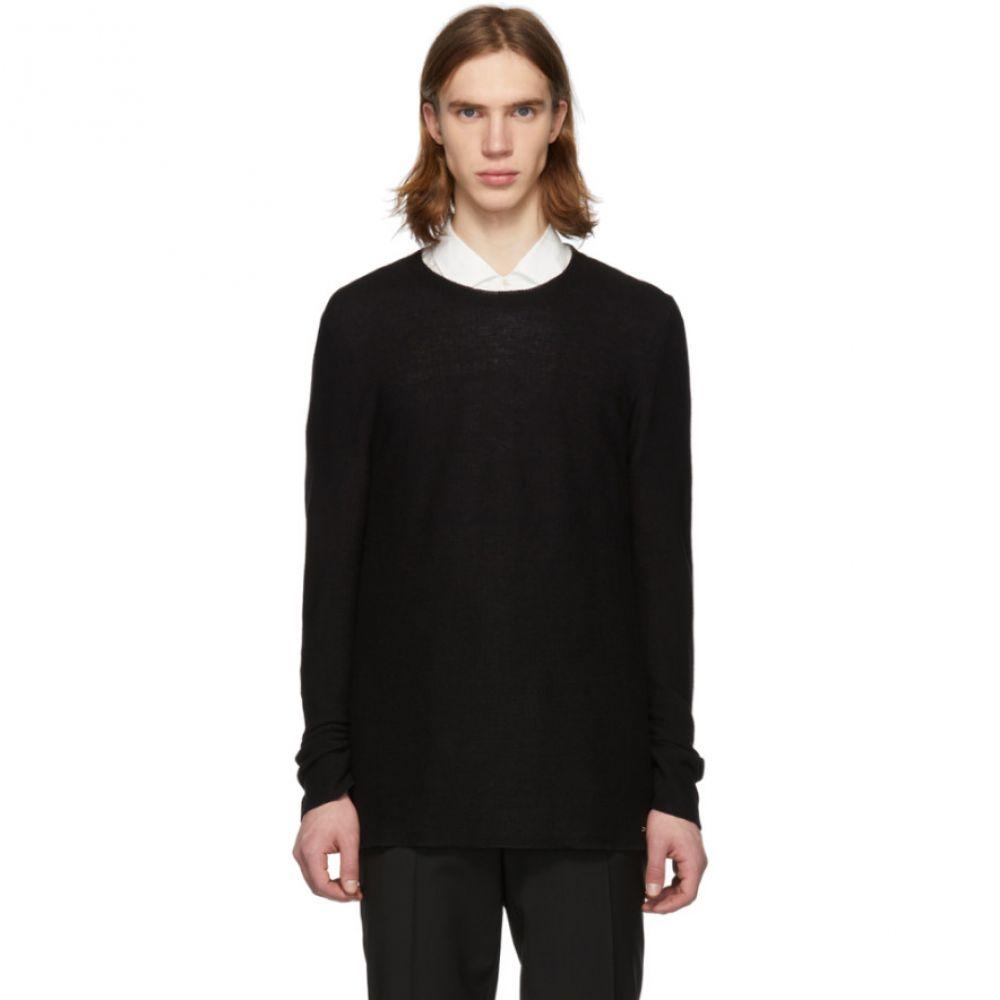 ヒューゴ ボス Hugo メンズ トップス【Black Linen Crewneck Sweater】