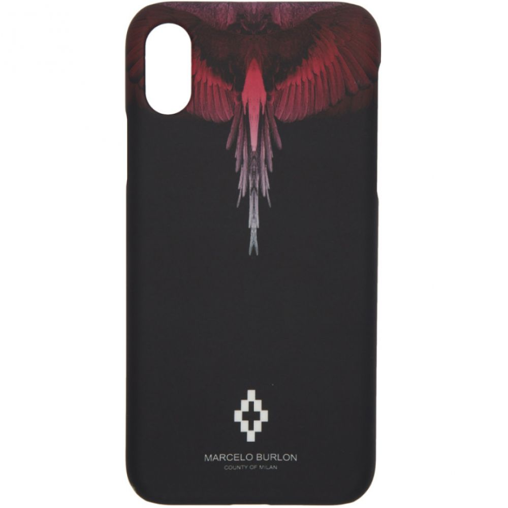 マルセロバーロン Marcelo Burlon County of Milan レディース iPhone (X)ケース【Black & Pink Wings iPhone X Case】