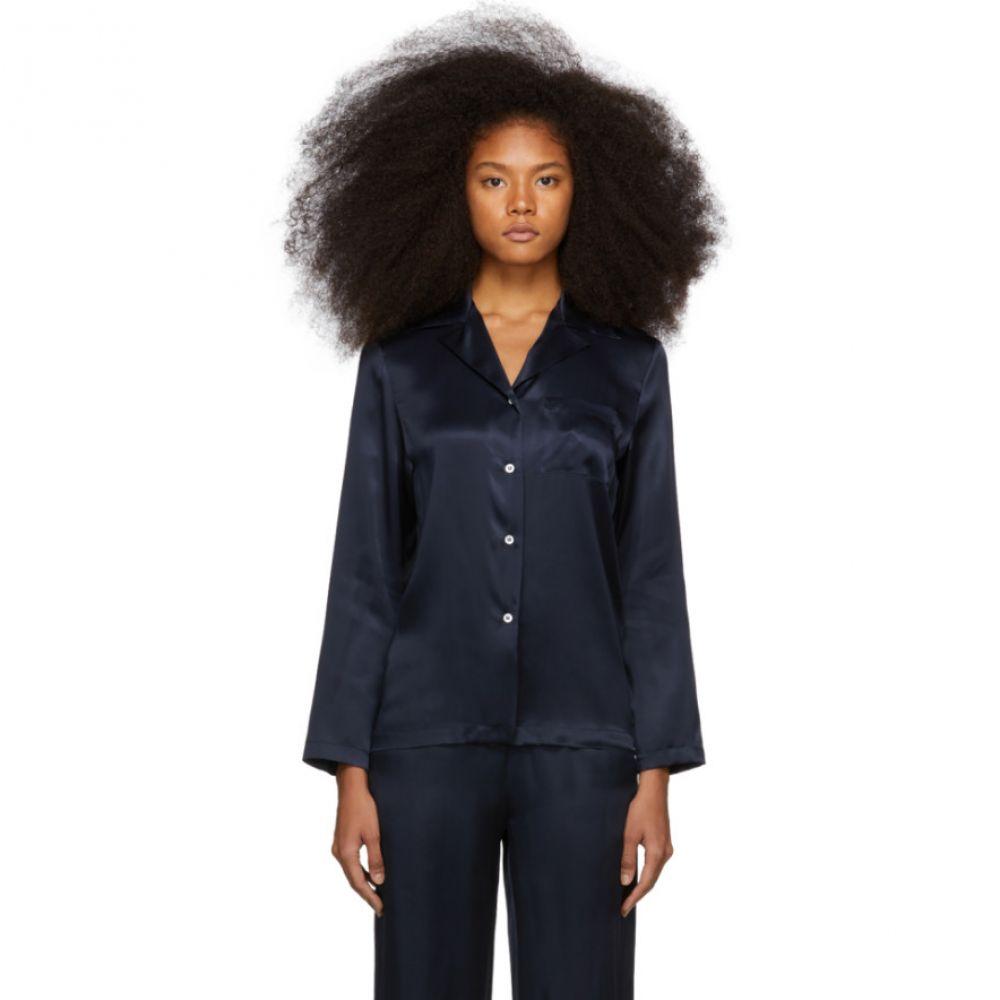 マンサーガブリエル Mansur Gavriel レディース トップス ブラウス・シャツ【Navy Silk Flowy Pajama Shirt】