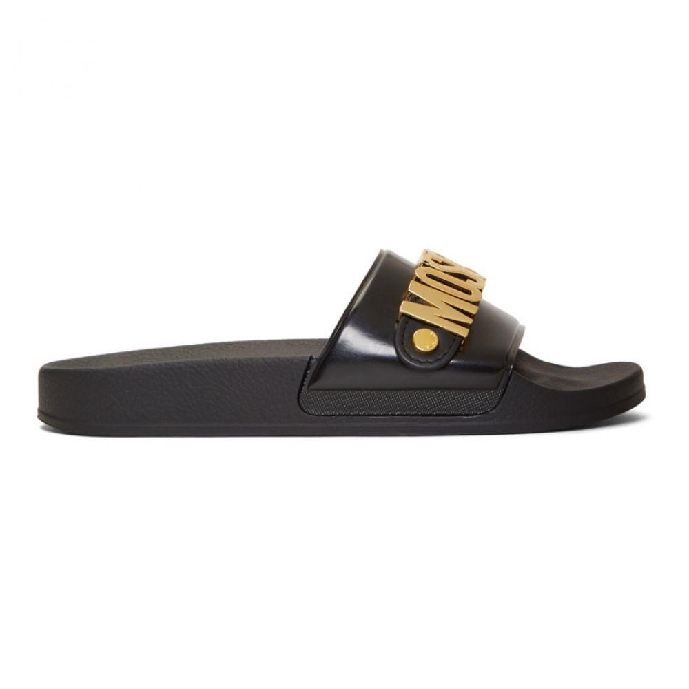 モスキーノ Moschino メンズ シューズ・靴 サンダル Pool【Black シューズ・靴 & モスキーノ Gold Logo Pool Slides】, やきもの工房炎:728a3a2c --- sunward.msk.ru