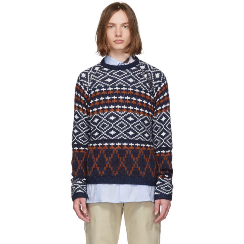 ラフ シモンズ Raf Simons メンズ トップス【Navy & White Jacquard Sleeve Sweater】
