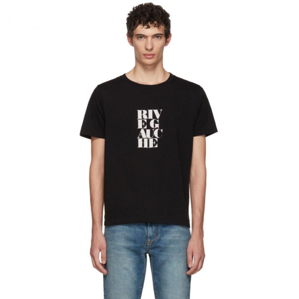 イヴ サンローラン Saint Laurent メンズ トップス Tシャツ【Black 'Rive Gauche' Bold Print T-Shirt】