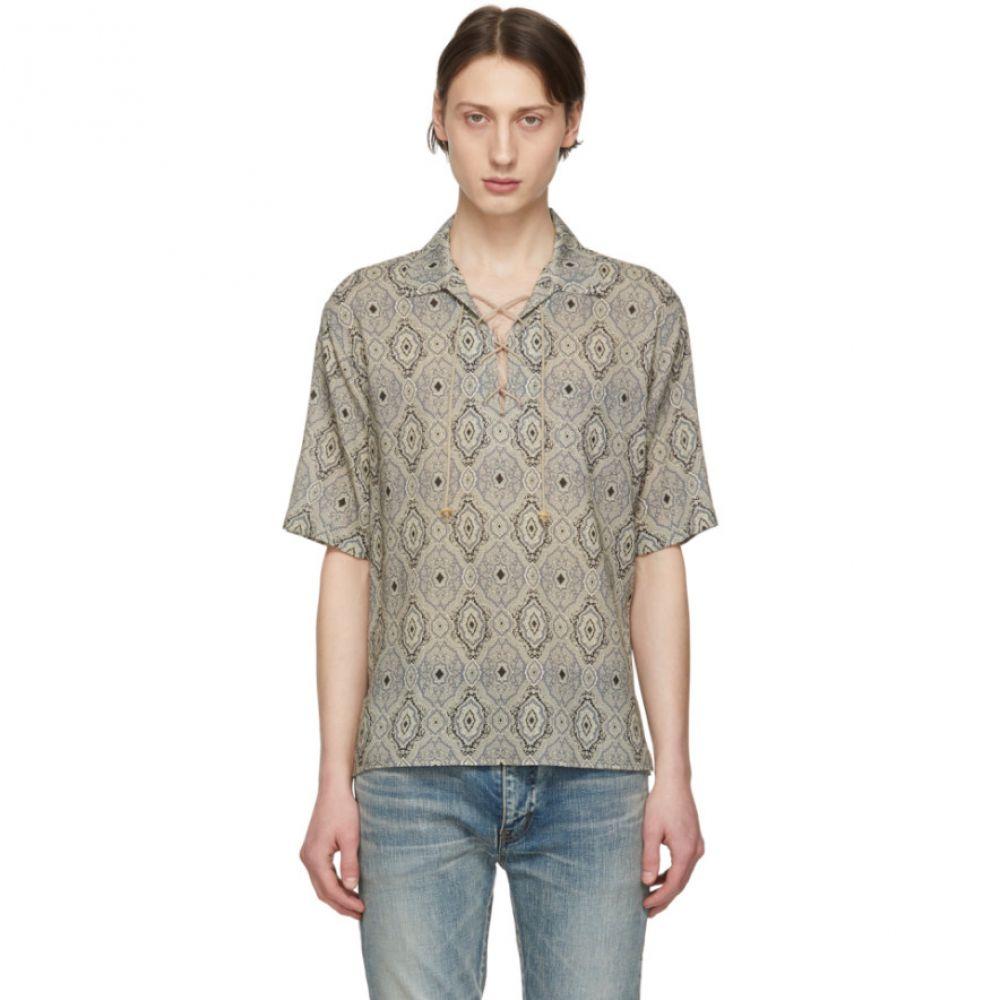 イヴ サンローラン Saint Laurent メンズ トップス シャツ【Beige Wool Persian Carpet Lace-Up Shirt】