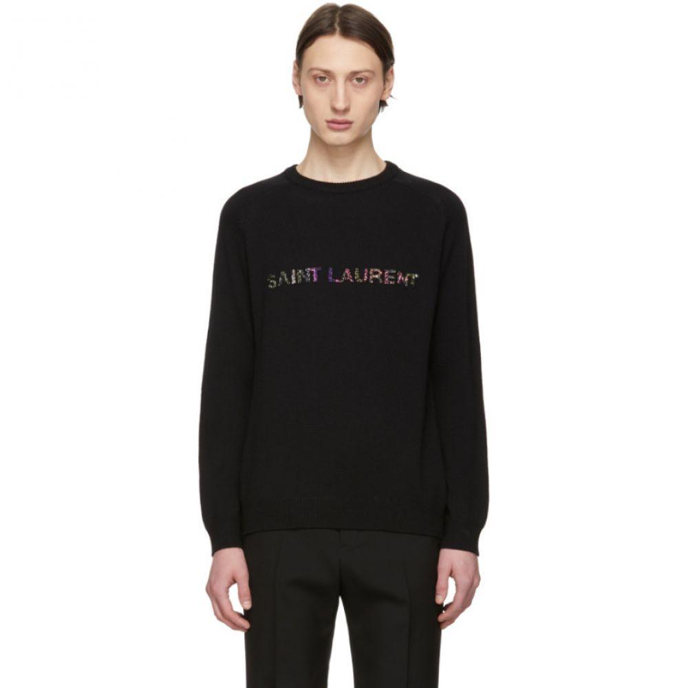 イヴ サンローラン Saint Laurent メンズ トップス【Black Sequin Logo Sweater】