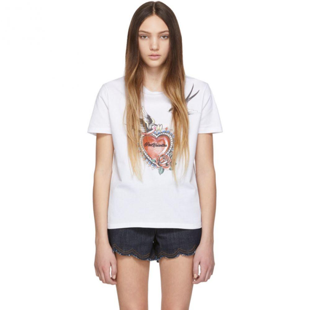 ヴァレンティノ RED Valentino レディース トップス Tシャツ【White Print T-Shirt】