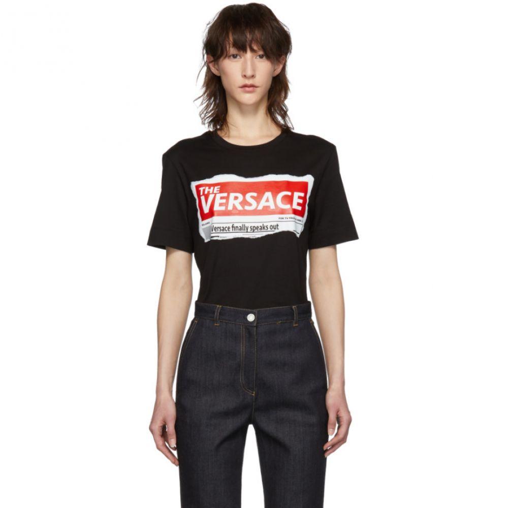 ヴェルサーチ Versace レディース トップス Tシャツ【Black Tabloid T-Shirt】