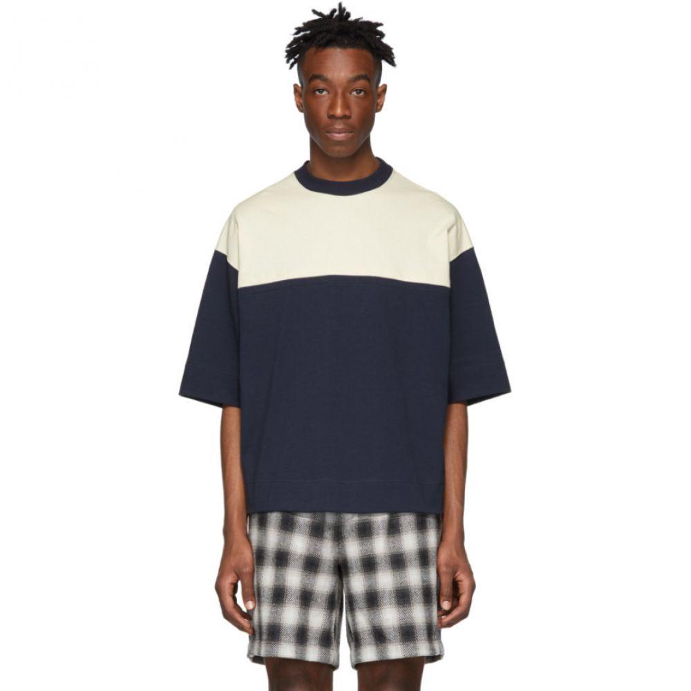 エヌハリウッド N.Hoolywood メンズ トップス Tシャツ【Off-White & Navy Colorblock T-Shirt】