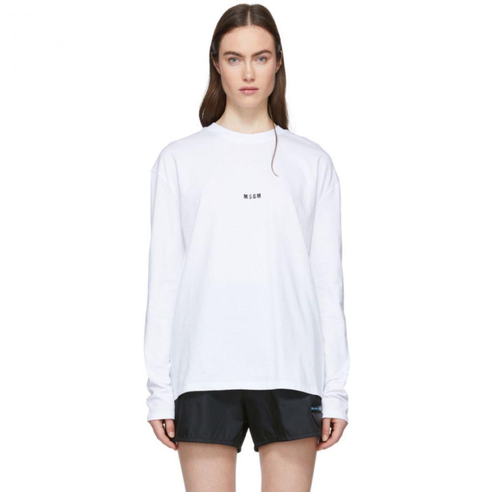 エムエスジーエム MSGM レディース トップス 長袖Tシャツ【White Mini Logo Long Sleeve T-Shirt】