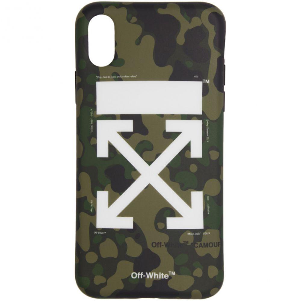 オフ-ホワイト Off-White メンズ iPhone (X)ケース【Green Arrows Camouflage iPhone X Case】