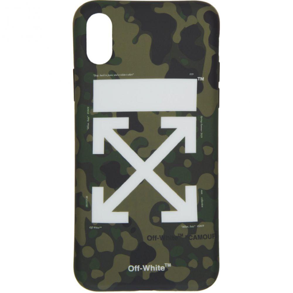 オフ-ホワイト Off-White レディース iPhone (X)ケース【Green & Brown Camo iPhone X Case】