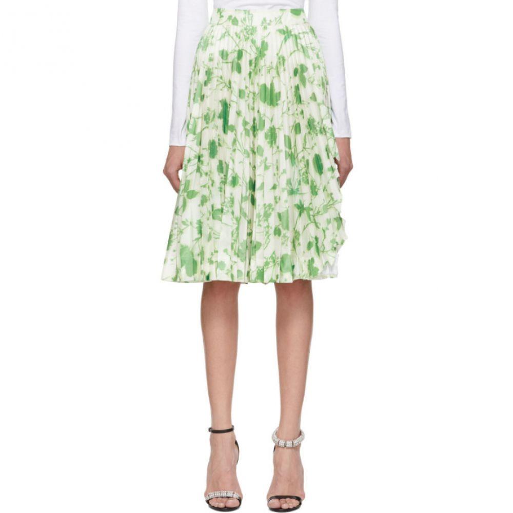 カルバンクライン Calvin Klein 205W39NYC レディース スカート ひざ丈スカート【White & Green Acid Leaves Soleil Pleated Skirt】