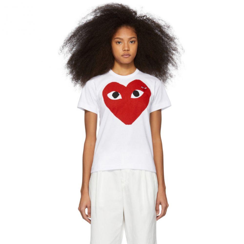コム デ ギャルソン Comme des Garcons Play レディース トップス Tシャツ【White & Red Double Large Hearts T-Shirt】