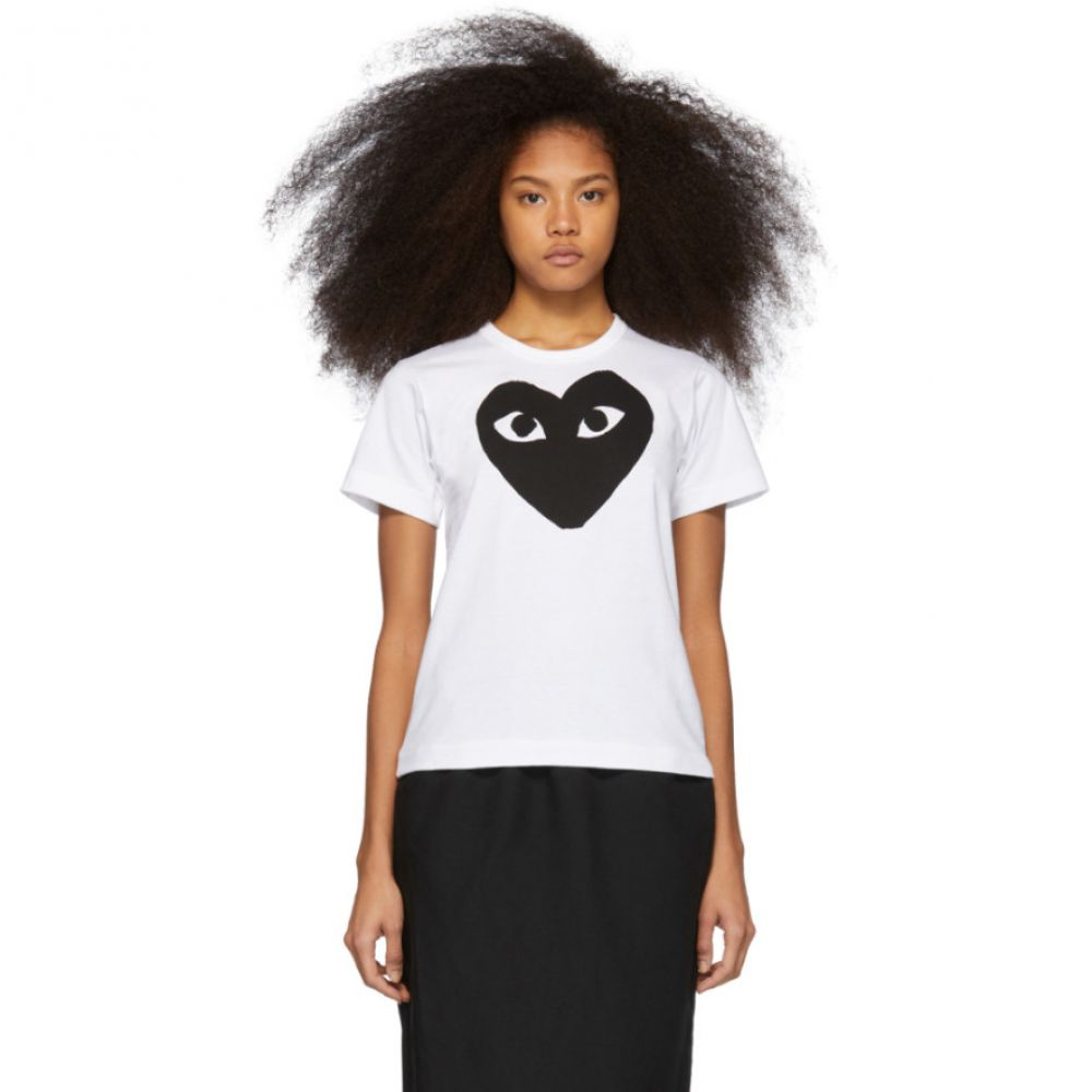 コム デ ギャルソン Comme des Garcons Play レディース トップス Tシャツ【White & Black Heart T-Shirt】