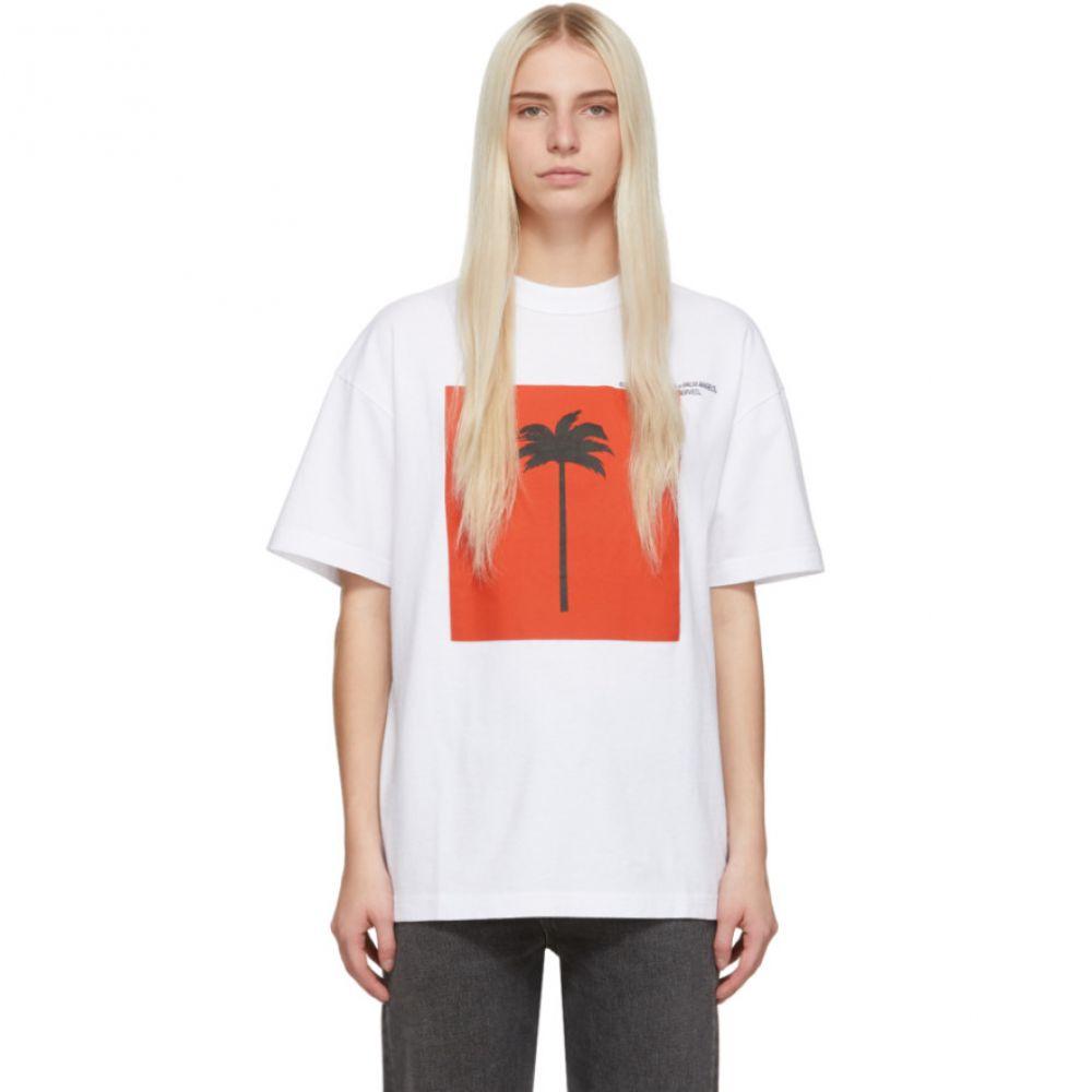 パーム エンジェルス Palm Angels レディース トップス Tシャツ【White Big 'Palm x Palm' T-Shirt】