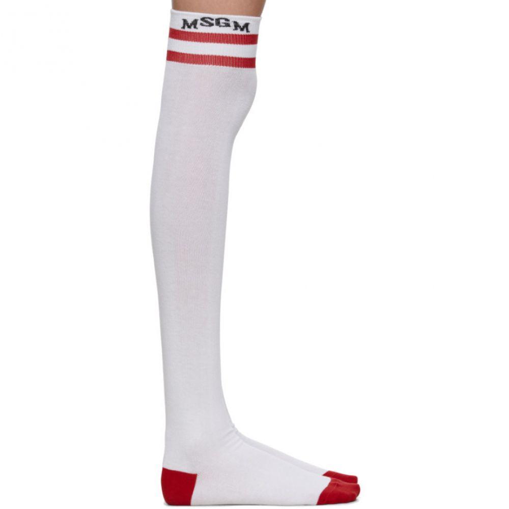 エムエスジーエム MSGM レディース インナー・下着 ソックス【SSENSE Exclusive White & Red High School Socks】