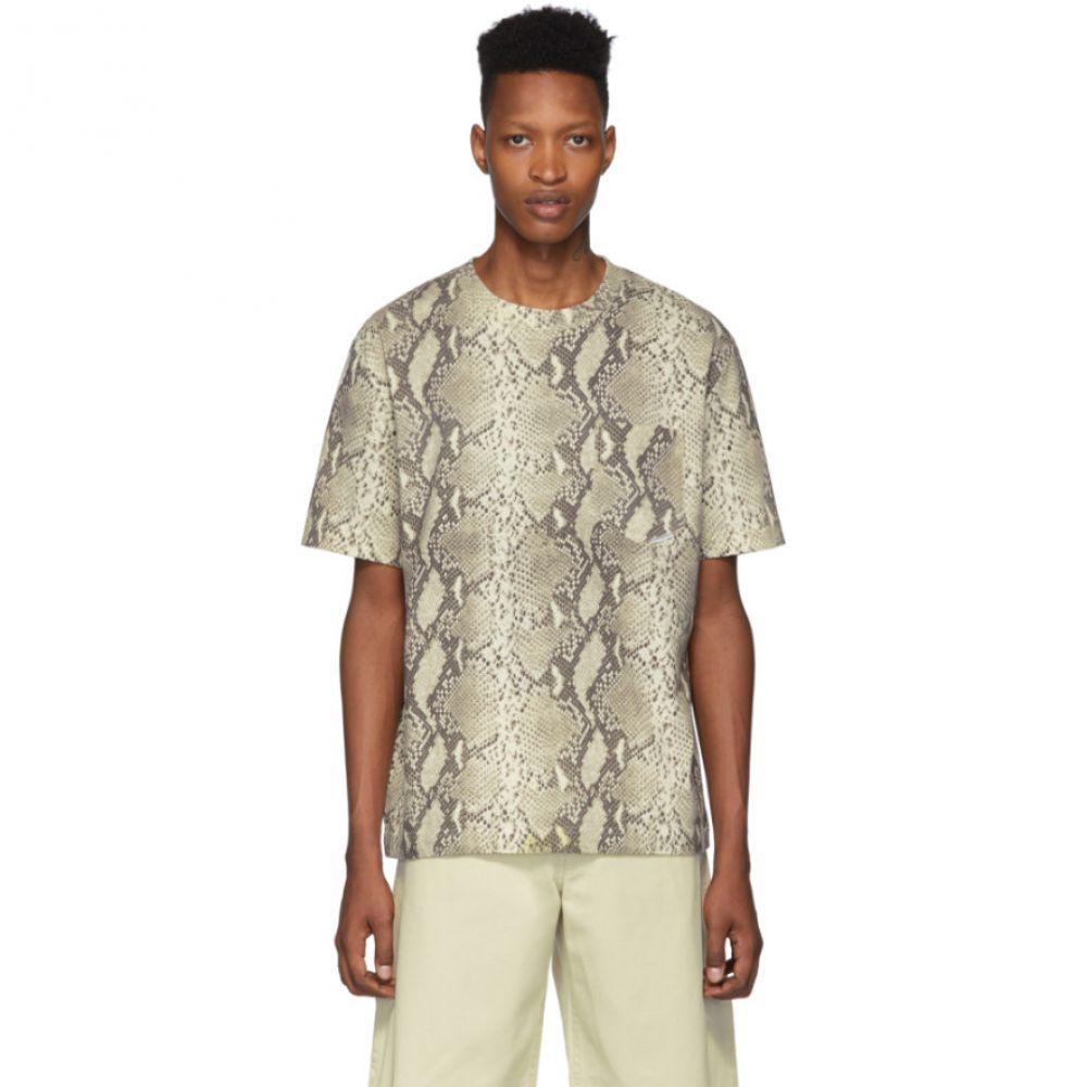 アレキサンダー ワン Alexander Wang メンズ トップス Tシャツ【Beige High-Twist Snake Print T-Shirt】Ecru