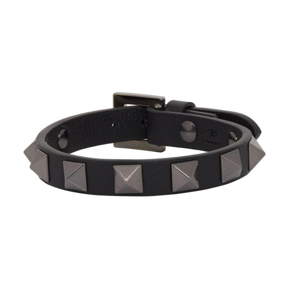 ヴァレンティノ Valentino メンズ ジュエリー・アクセサリー ブレスレット【Black Garavani Leather Tonal Rockstud Bracelet】Black