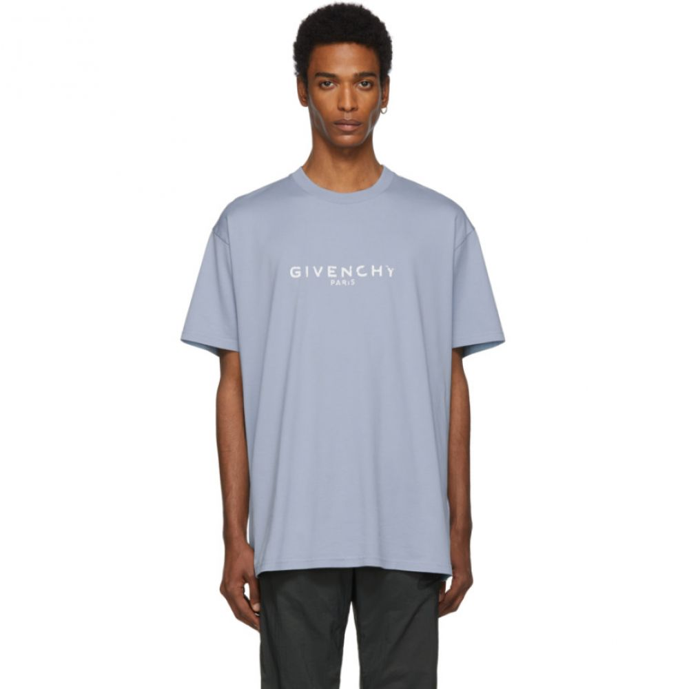 ジバンシー Givenchy メンズ トップス Tシャツ【Blue Oversized 'Paris' Vintage T-Shirt】Pale blue