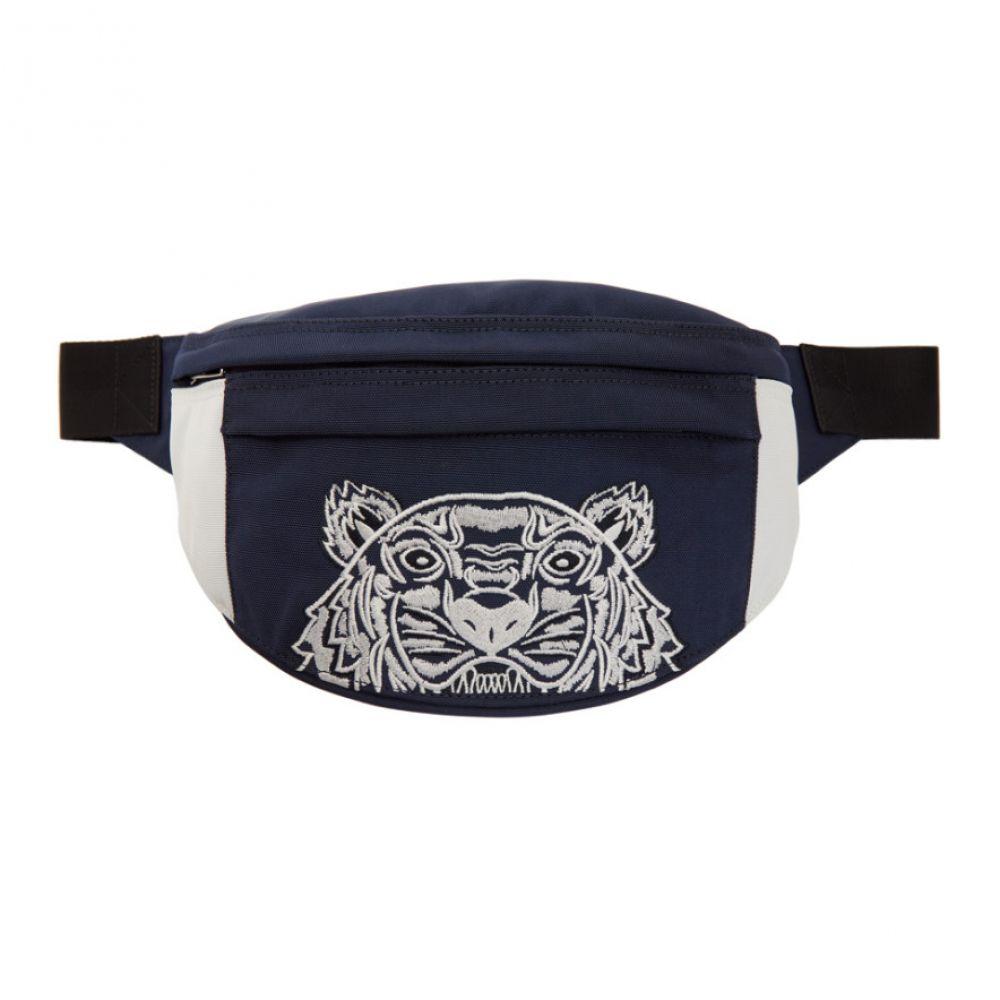 ケンゾー Kenzo メンズ バッグ ボディバッグ・ウエストポーチ【Navy & White Limited Edition Colorblock Tiger Bum Bag】Navy