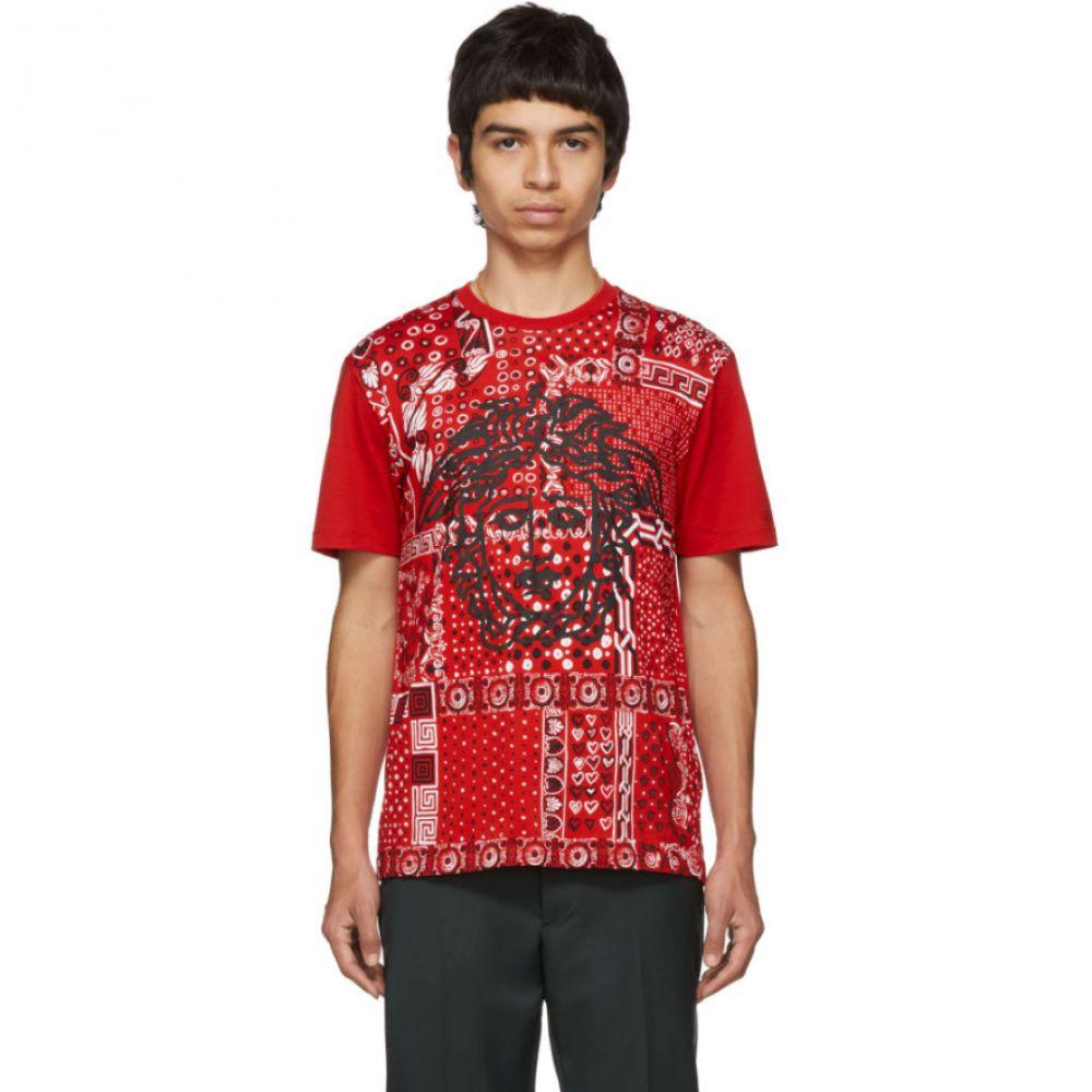 ヴェルサーチ Versace メンズ トップス Tシャツ【Red Bandana Medusa T-Shirt】Red