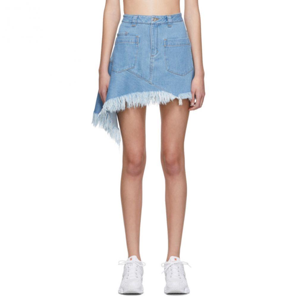 マルケス アルメイダ Marques Almeida レディース スカート ミニスカート【Blue Denim Asymmetric Miniskirt】Mid blue