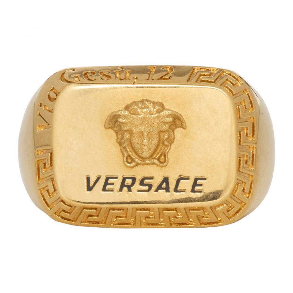 ヴェルサーチ Versace メンズ ジュエリー・アクセサリー 指輪・リング【Gold Square Medusa Ring】Gold
