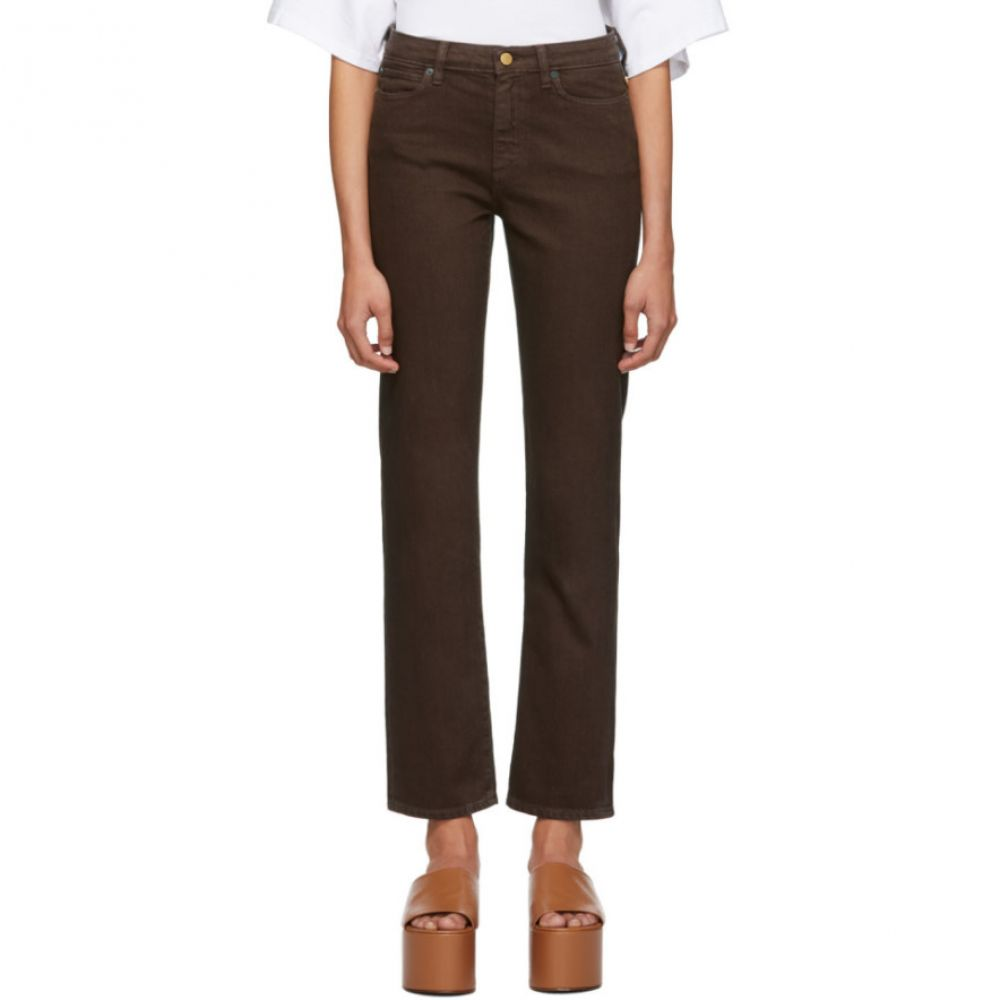 サイモンミラー Simon Miller レディース ボトムス・パンツ ジーンズ・デニム【Brown Mid-Rise Slim Straight Jeans】Chocolate