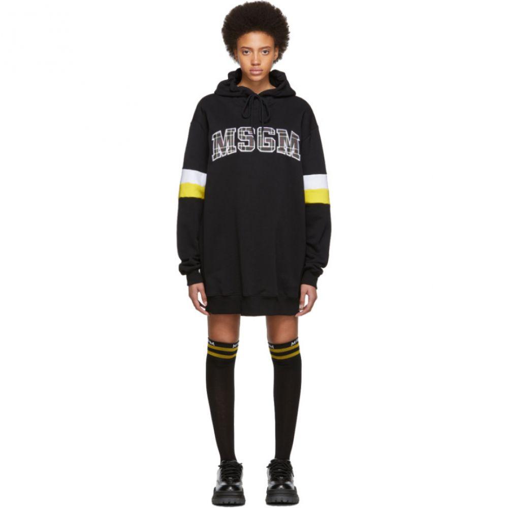 エムエスジーエム MSGM レディース ワンピース・ドレス ワンピース【SSENSE Exclusive Black Oversized Logo Short Dress】Black/Yellow