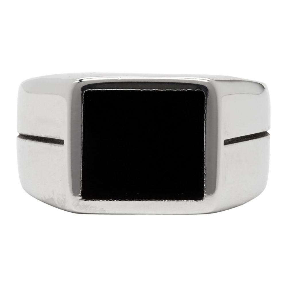 ジバンシー Givenchy メンズ ジュエリー・アクセサリー 指輪・リング【Silver & Black Logo Signet Ring】Black/Silver