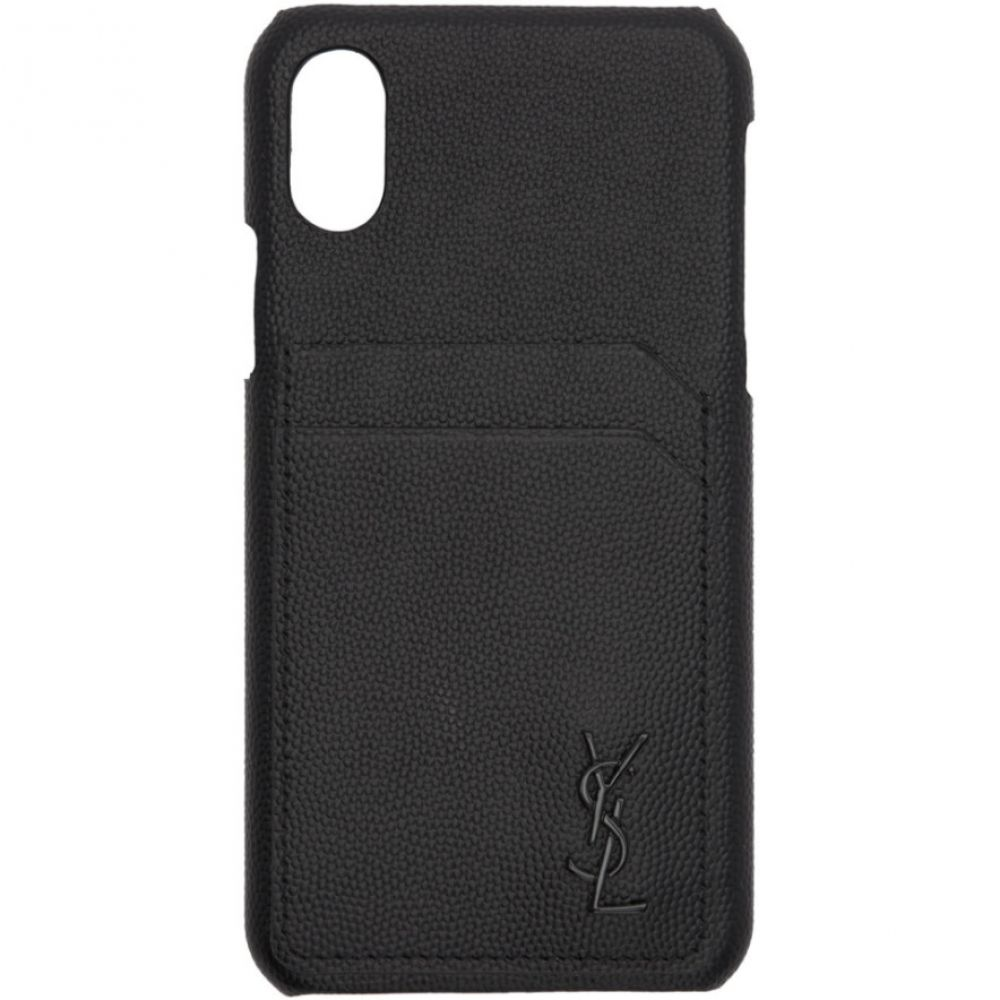 イヴ サンローラン Saint Laurent メンズ iPhone (X)ケース【Black Leather Monogramme iPhone 10 Case】Black