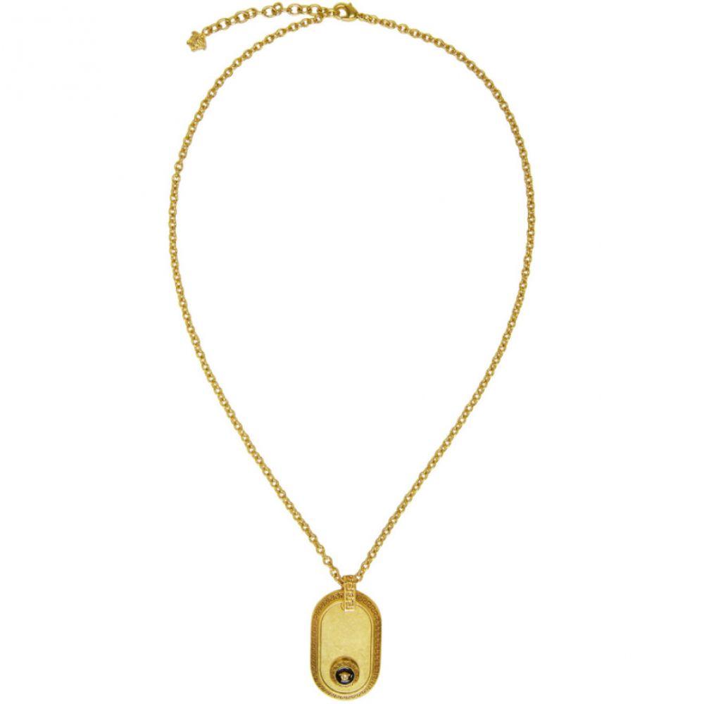 ヴェルサーチ Versace メンズ ジュエリー・アクセサリー ネックレス【Gold & Black Medusa Oval Pendant Necklace】Gold/Black