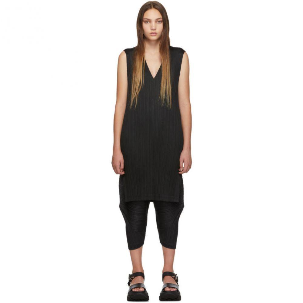 プリーツ プリーズ イッセイ ミヤケ Pleats Please Issey Miyake レディース ワンピース・ドレス ワンピース【Black V-Neck Dress】Black