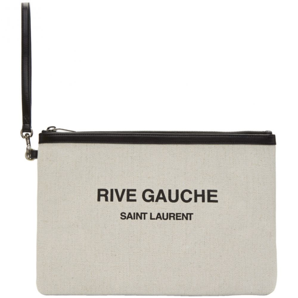 イヴ サンローラン Saint Laurent メンズ ポーチ【Off-White 'Rive Gauche' Zippered Pouch】White