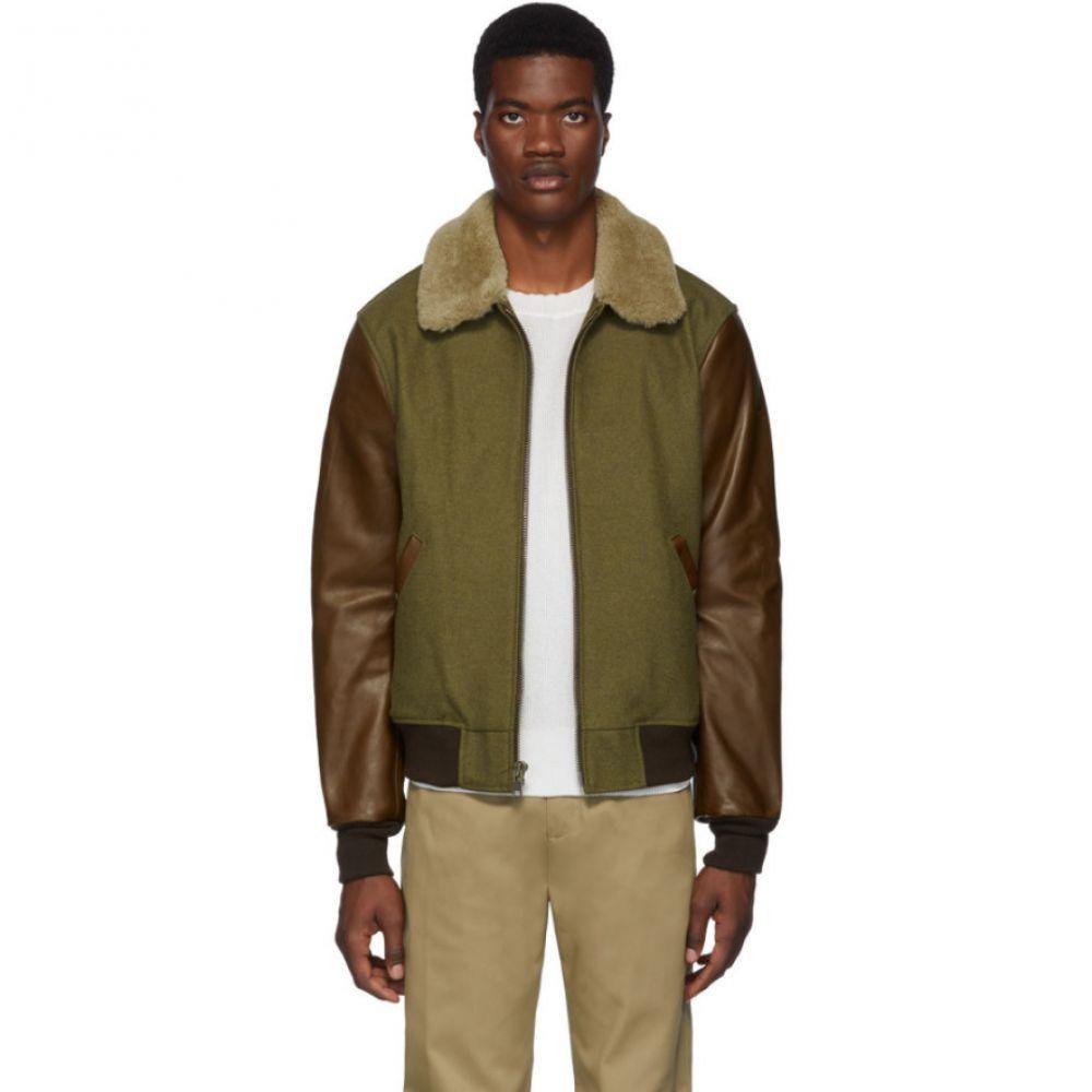 ショット Schott メンズ アウター レザージャケット【Khaki & Brown Leather B-15 Jacket】Olive