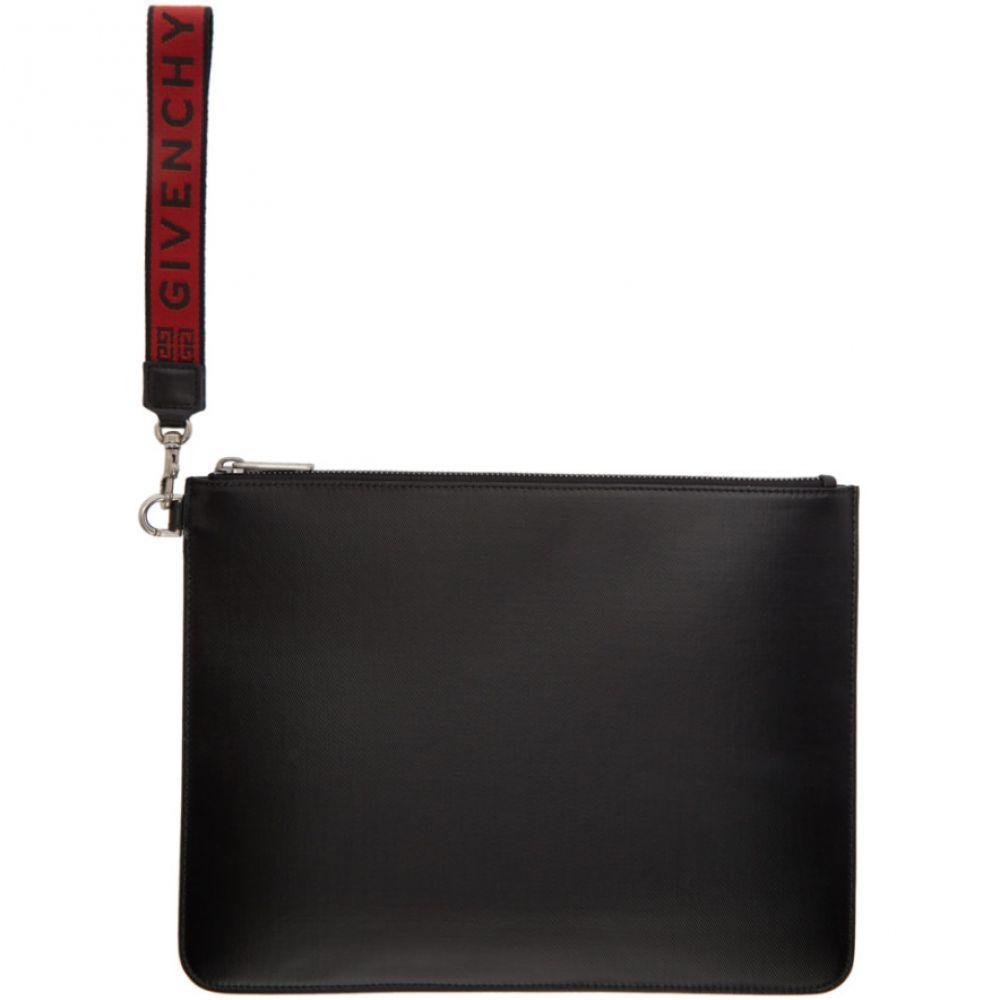 ジバンシー Givenchy メンズ ポーチ【Black & Red Canvas 4G Wrislet Pouch】Black