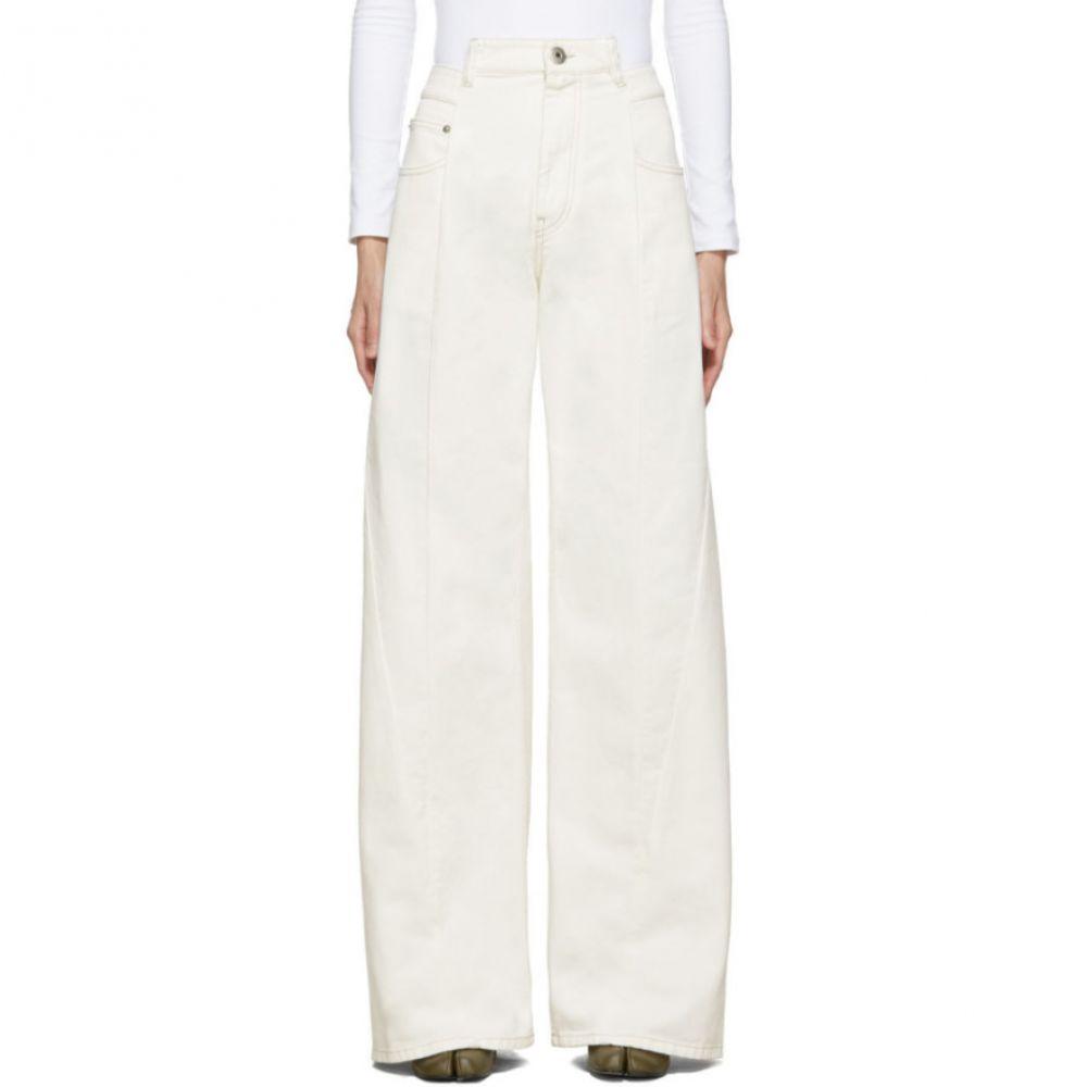 メゾン マルジェラ Maison Margiela レディース ボトムス・パンツ ジーンズ・デニム【Off-White Wide-Leg 'Decortique' Asymmetric Jeans】Off-White