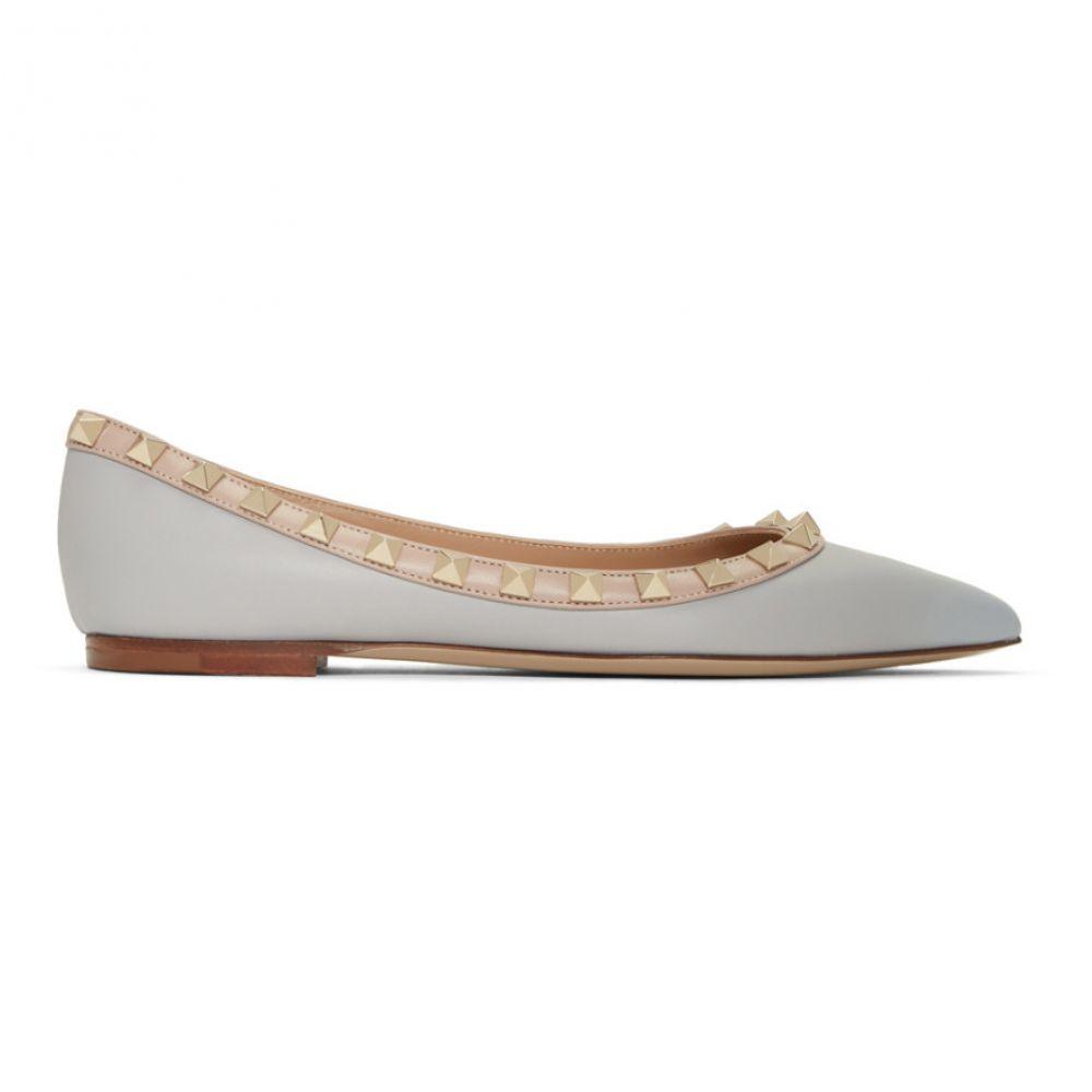 ヴァレンティノ Valentino レディース シューズ・靴 スリッポン・フラット【Grey Garavani Rockstud Ballerina Flats】Pastel grey