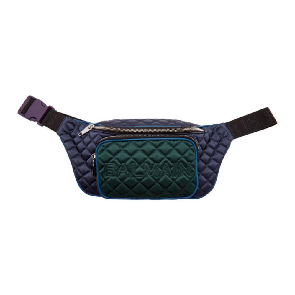 バルマン Balmain メンズ バッグ ボディバッグ・ウエストポーチ【Multicolor Quilted Belt Bag】Bleu marine/Vert bouteille