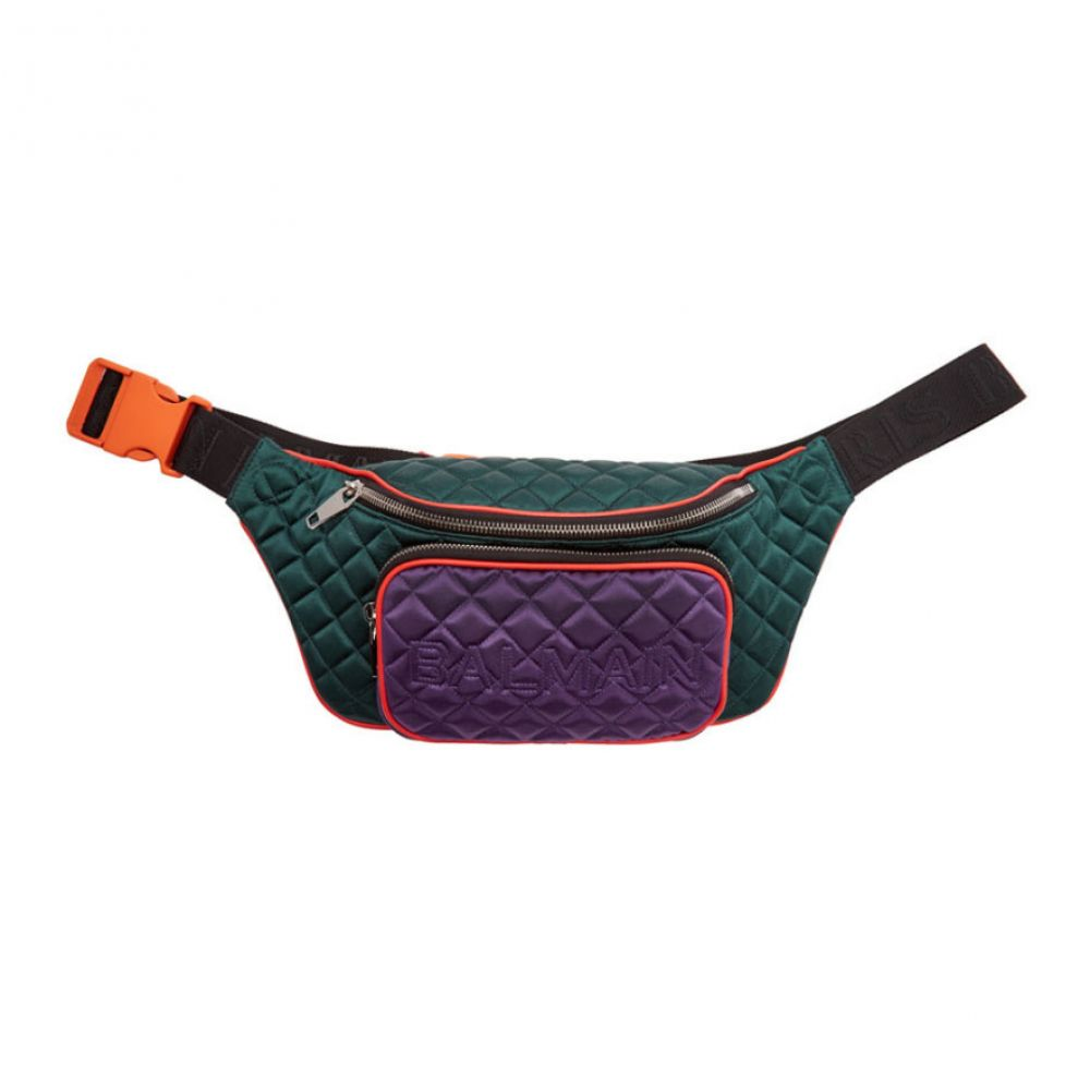 バルマン Balmain メンズ バッグ ボディバッグ・ウエストポーチ【Green & Purple Quilted Silk Belt Bag】Bottle green