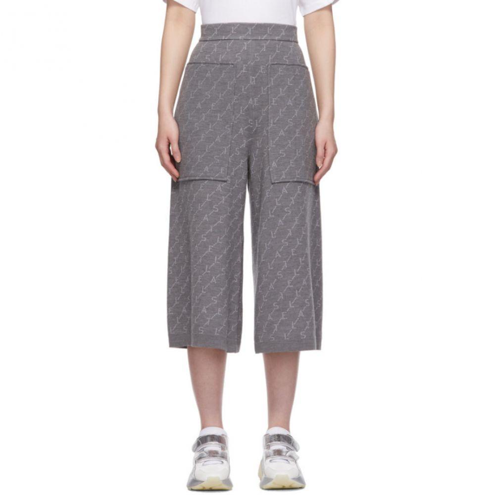 ステラ マッカートニー Stella McCartney レディース ボトムス・パンツ スウェット・ジャージ【Grey Cropped Monogramme Lounge Pants】Grey/Ivory