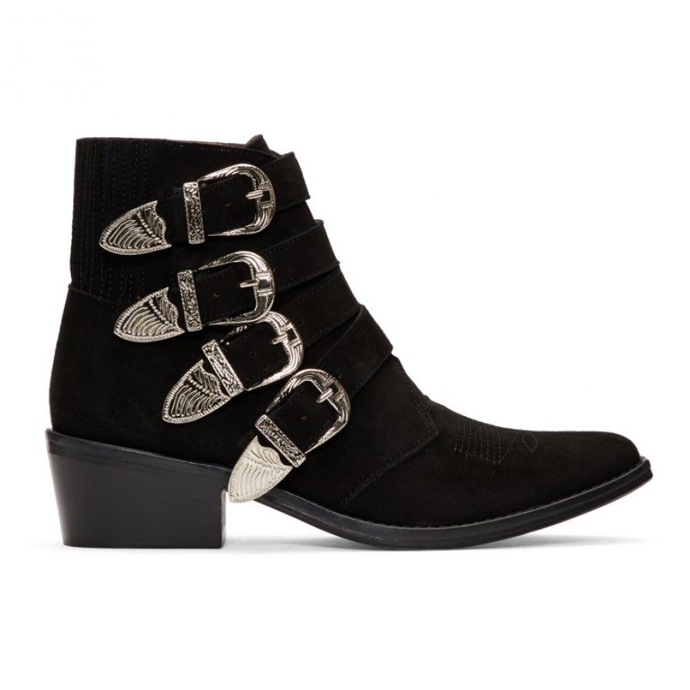 トーガ Toga Pulla レディース シューズ・靴 ブーツ【Black Suede Four Buckle Western Boots】Black