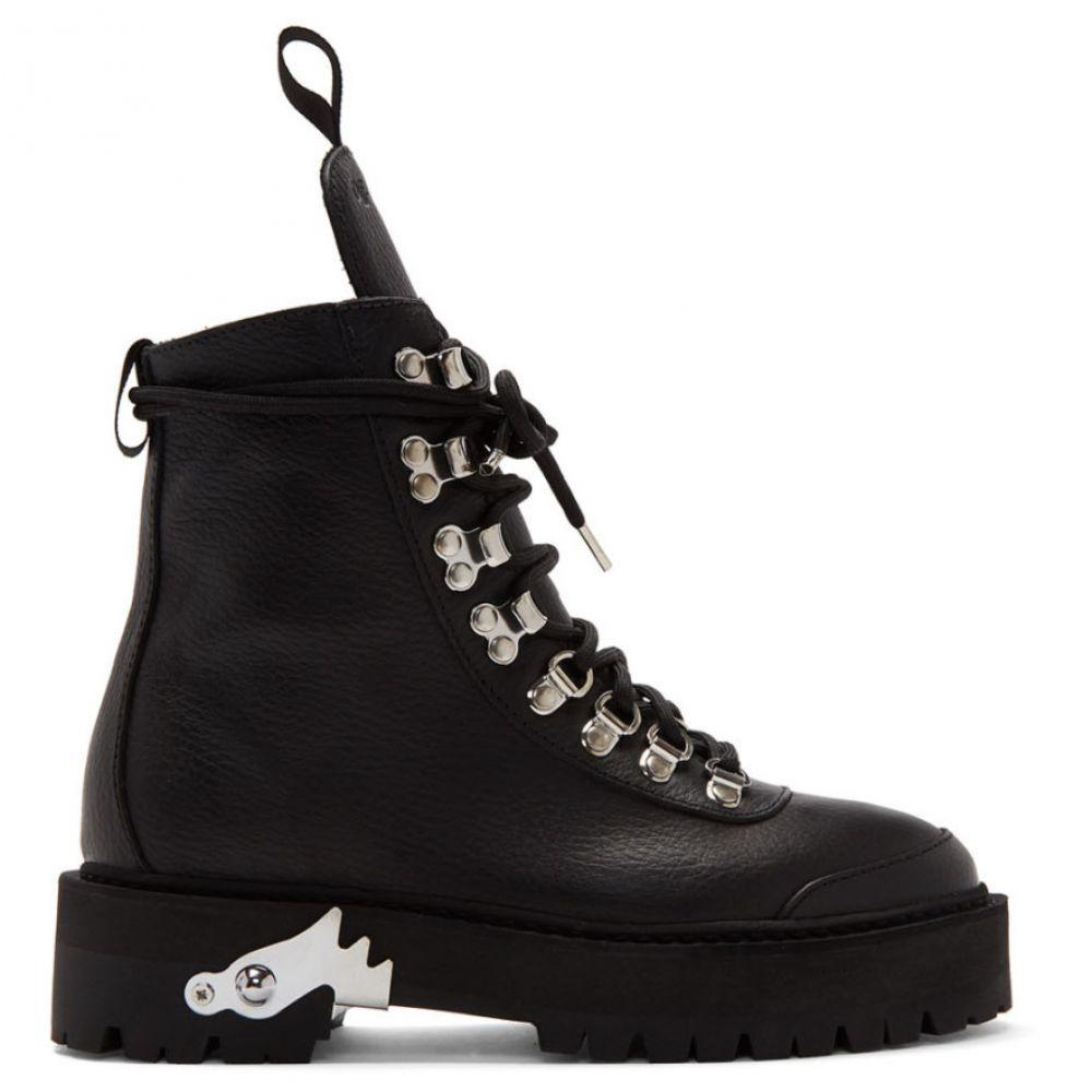 オフ-ホワイト レディース ハイキング・登山 シューズ・靴 Black 【サイズ交換無料】 オフ-ホワイト Off-White レディース ハイキング・登山 シューズ・靴【Black Leather Hiking Boots】Black