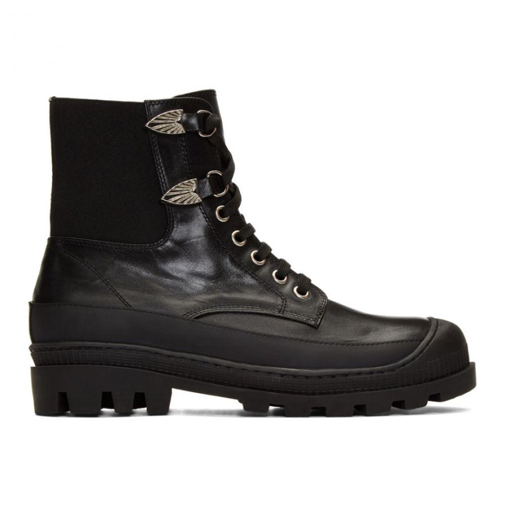 トーガ Toga Virilis メンズ シューズ・靴 ブーツ【Black Leather Lace-Up Boots】Black
